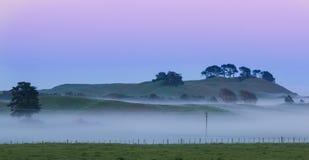 Mist Farm Hill Stock Photos