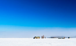 The Mist And The Fields. In the springtime, the snow starts to melt but air is still cold. The mist rises. This shot is taken early morning in the beginning of royalty free stock photos