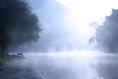 The mist floating on the surface of the old city Royalty Free Stock Images