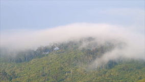 The mist flowing over mountain stock footage