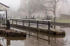 Dry Dock and Lock at Wigan Pier. The mist and the fog around the dry dock and lock in Wigan Stock Photography
