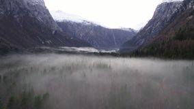 Mist and fog in Norway. Mist and fog in Romsdalen Norway stock footage