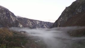 Mist and fog in Norway. Mist and fog in Romsdalen Norway stock video footage