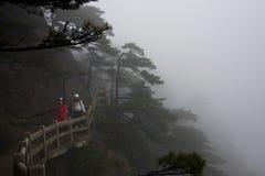The Mist, Foggy Rainny day. Stone Steep Steps . Trekking walking Stock Photo