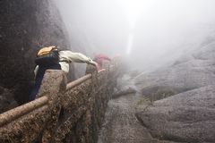 The Mist, Foggy Rainny day. Stone Steep Steps . Trekking walking Stock Photos