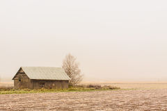 Mist On Frost. The late autumn frost on the fields. A lonely barnhouse looks very cold to me stock photos