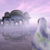 Mist on the Ganges. Indian architecture on the Ganges in the mist Stock Image