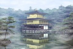 Mist on the Golden Pavilion at Kinkakuji Temple - Kyoto, Japan Stock Photography
