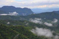 Mist het hangen over de berg van tropisch regenwoud in regenachtig seizoen royalty-vrije stock foto's