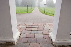 Mist in the historical manor park Royalty Free Stock Images
