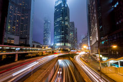 Mist Hong Kong Central District with Light Track Royalty Free Stock Image
