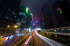 Mist Hong Kong Central District at Night Royalty Free Stock Photography