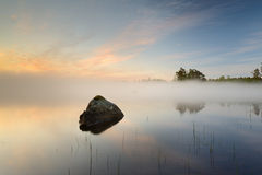 Mist. Lake with a stone in water Stock Photo
