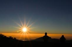 Mist met de zon Stock Foto