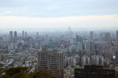 Mist morning view skyline, Taipei city Royalty Free Stock Image