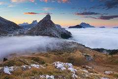 Mist in the mountain . In the dolomites Royalty Free Stock Image