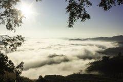 Mist mountain. Lot of mist around top of mountain Stock Image