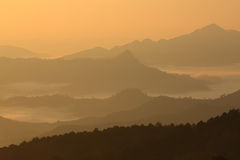 Mist  mountain. In meahongson province, thailand Stock Photography