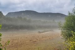 Mist at Mountain River Kurdzhips Royalty Free Stock Images