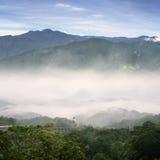 Mist mountain valley stock photo
