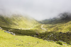 Mist in the mountains on the Salkantay trail. At Cuzco, Peru Stock Photography