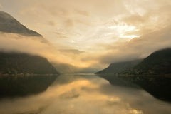 Mist on a Norwegian Fjord. Mist on a Fjord in northern Norway Stock Images