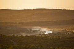 Mist op Afrikaanse rivier, Zuid-Afrika royalty-vrije stock foto