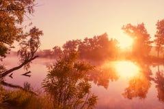 Mist op de rivier Royalty-vrije Stock Afbeeldingen