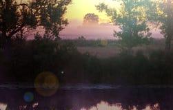 Mist op de rivier Stock Foto