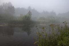 Mist op de rivier CherÑ ` Ha Royalty-vrije Stock Afbeeldingen