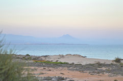 Mist Over Alicante Beach And Sea Royalty Free Stock Photos