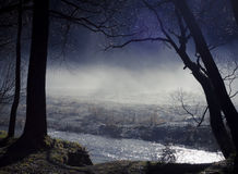 Mist. Over the Arrow River, Arrowtown, Otago, New Zealand Stock Image