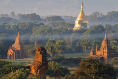 Mist over Bagan at morning Royalty Free Stock Photography