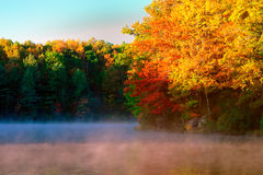 Mist over Boley lake in the fall Royalty Free Stock Photo