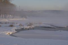 Mist over de stadsvijver in de winter Stock Foto