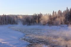 Mist Over Icy Lake by a Forest Stock Photo
