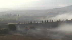 Mist over Italiaans landschap stock videobeelden
