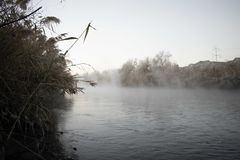 Mist Over the Jordan River stock photo