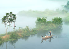 The mist over lucid lake (6). The morning mist over the Fuchun River in southern China royalty free stock images