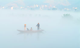 The mist over lucid lake (7). The morning mist over the Fuchun River in southern China stock image