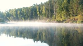 Mist over the river. Autumn forest is reflected in the water. Mist over the river. Autumn forest is reflected in the water stock video footage