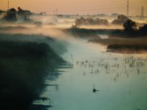 Mist over river at sunrise Royalty Free Stock Photos