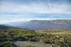 Mist over valley at Gredos Stock Photos