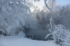 The mist over the water. Winter Creek. Royalty Free Stock Photos