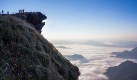 Mist på den Phu Chifa, Thailand Arkivfoton