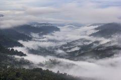 Mist på tropisk bergskedja, detta ställe är i Kaengen Krach Royaltyfri Foto