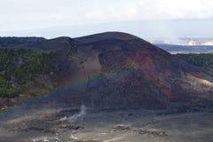 Mist Rainbow Over Lava Fields Big Island Hawaii Stock Photos