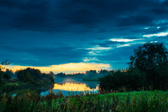 Mist Rises From An Autumn River. The coldness of the autumn nights produces mist on the water surface royalty free stock photography