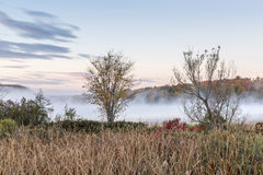 Mist Rising from an Autumn River - Ontario, Canada Royalty Free Stock Photography