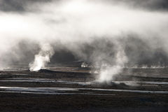 Mist rising from geyser field, Chile Royalty Free Stock Images